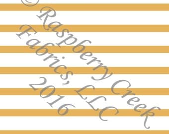 Mustard Yellow and White Stripe 4 Way Stretch FRENCH TERRY Knit Fabric, Club Fabrics