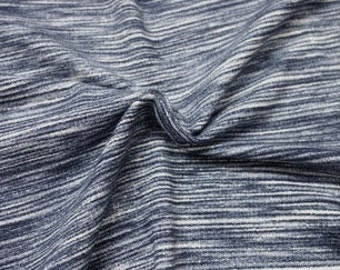 Navy Space Dyed Brushed Poly Spandex Knit, 1 Yard