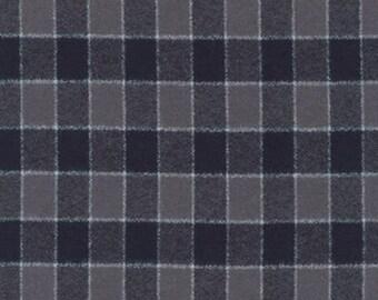 Grey and Black Square Check Plaid Robert Kaufman Mammoth Plaid Flannel, 1 Yard