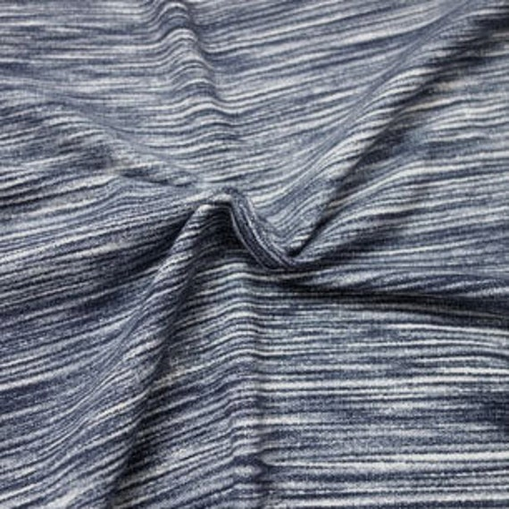 Navy space dyed brushed poly spandex knit 1 yard from for Space dye knit fabric by the yard