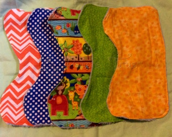 Set of 5 burp cloths, burpie cloths , baby burpies, boys burp cloths, baby burp cloths, baby burp cloths, mommy to be, baby shower gift,