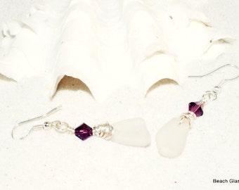 White Beach Glass Earrings - Lake Erie Beach Glass - Pierced Sea Glass Earrings