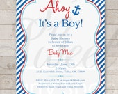 Nautical BABY SHOWER Invitations - Boys Baby Shower Invitations - Nautical Baby Shower Decorations - Whales and Anchors - Set of 12
