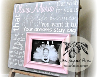 Baptism Gift for Goddaughter, Personalized Baptism Frame, Our Wish For You, 16x16 The Sugared Plums Frames