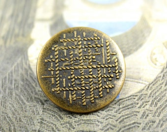 Metal Buttons - Ropes Interwoven Patterns Metal Shank Buttons , Antique Brass Color, 0.79 inch , 10 pcs