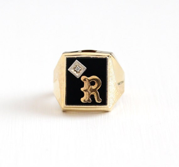 R Letter In Black Diamonds Vintage Gold Washed St...