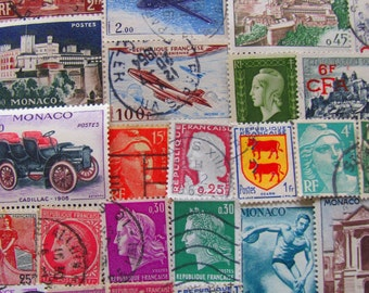 French Kisses 50 Vintage French Postage Stamps France French Colonies Republique Francaise Paris Belle Epoche Steampunk Worldwide Philately