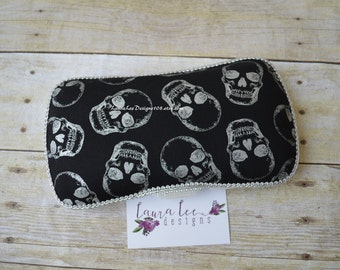 Metallic Silver Skulls Travel Baby Wipe Case, Diaper Wipes Case, Baby Shower Gift, Wipe Holder, Diaper Bag, Personalized, Day of the Dead