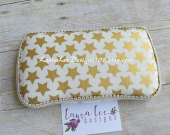Metallic Gold Stars on Cream Boutique Style Travel Wipe Case Personalized Wet Wipe Case Monogrammed Nappy Wipe Case