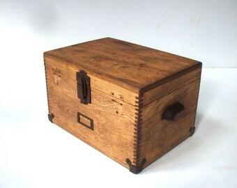 Vintage Wood Box with Hinges & Hardware / Distressed Finish / Notions Box / Potions Box / Storage Organization / Secret Storage / Gift Box