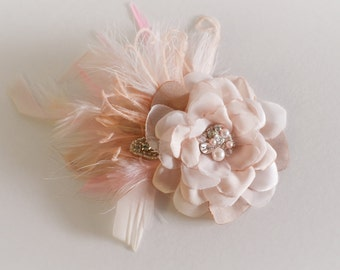 Bridal Blush Hair Flower with feather fascinator, Blush feathers, Blush flower petal headpiece, flower with pearls crystals and rhinestones
