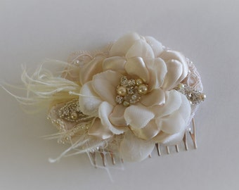 READY TO SHIP Bridal Alencon Lace Hair Flower comb,Champagne and Ivory Bridal Flower with feathers, Rhinestone beaded pearl hair flower comb