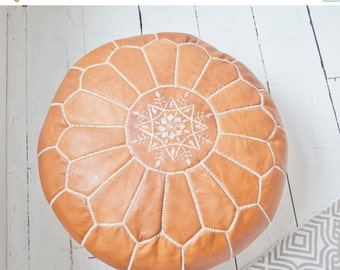 Summer Sale 20% off Wedding gift ideas Tan Moroccan Leather Pouf, Pouffe, Foot Stool, Brown, anniversary gifts, wedding gifts, home decor