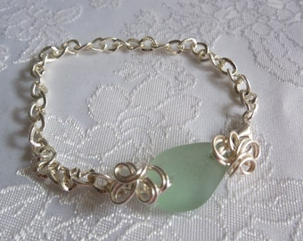 Aqua Beach Glass Bracelet