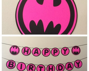 Batgirl Pink and black Happy Birthday Banner READY TO SHIP batman