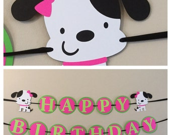 Pink and green Puppy dog Happy Birthday Banner puppy dog pink bow birthday party decorations