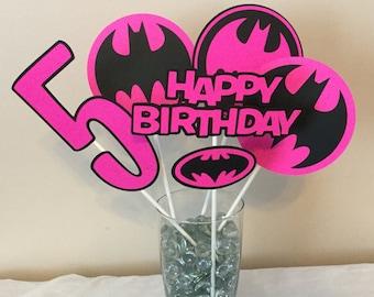 5 Piece Batman Black and Pink Centerpieces Batgirl