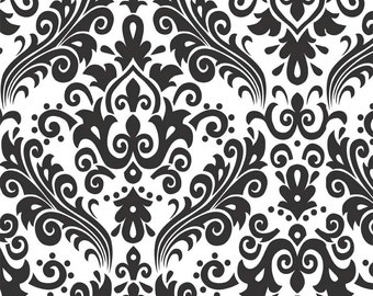 COTTON RB Just got this in!!Hollywood Large Damask Black on White