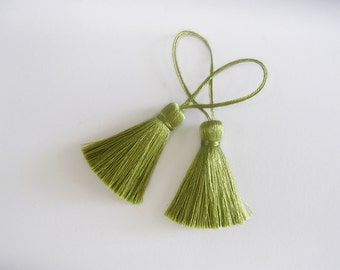 Olive Green Tassel Silk Dangling Trim Fringe Necklace Earrings Making Scarf Pillow Case Sewing Embellishments 2 pieces