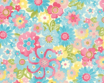 Colette Floral Blossom Sky Blue  Moda Quilt Fabric by the 1/2 yard #52-12