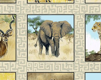 "Safari African Animals Blocks 3.25"" blocks Andover Cotton Quilt Fabric by the 1/2 yard"