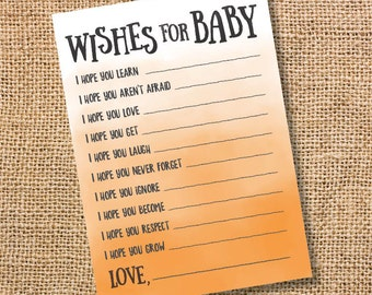 Wishes for Baby Orange Ombre Printable Baby Shower Baby Boy Twins Girl Orange Watercolor Baby Wishes Advice Card Tangerine INSTANT DOWLOAD