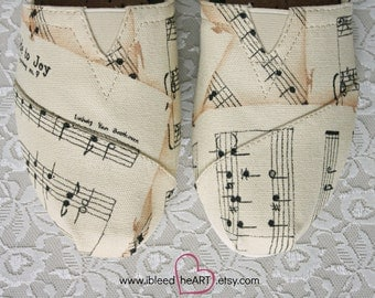 Sheet Music Painted TOMS Shoes - Custom Hand Painted Shoes - Musical Notes - Personalized TOMS - Ode to Joy - Classic Songs