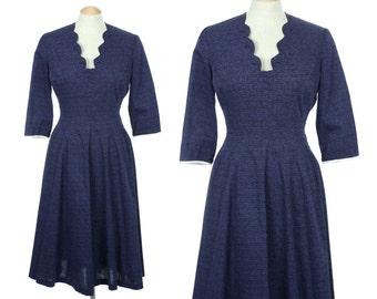 vintage 1950s dress BACK DETAIL princess cut fit & flare dress