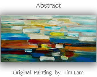 """Abstract wall art oil painting original painting 48""""canvas art  wall hanging one-of-a-kind abstract painting modern Home decor by tim lam"""