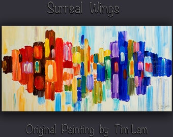 """Original Abstract Painting Wall Art Oil Painting 48"""" Canvas  Wall Decor Original Modern Home Deco, Wall Hanging, Surreal Road by Tim Lam"""