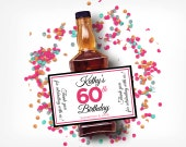 Custom Mini Bottle Labels Birthday Favors Adult Women 21 30 40 50 60th Birthday Celebration Thank You Happy Birthday Vodka Gifts EB-1054