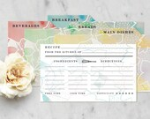 Custom Order for Necole—Feminine, Floral, Watercolor Recipe Cards & Dividers