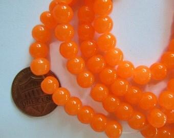 6mm Glass Beads in Bright Neon Orange, Imitation Jade, 130 Beads, Shinny, Round