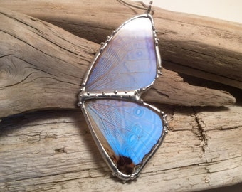 Real Butterfly Wing Necklace Blue Morpho Pendant,handmade butterfly pendant, butterly wing, morpho zephyritis
