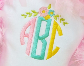 Circle Monogram Shirt or Onesie - Personalized Embroidery - Custom Shirt