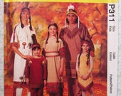 Easy to Sew Kids Native American Indian Costumes Sizes 2-4, 5-6, 7-8, 10-12 UNCUT McCalls Pattern P311 Vintage 1990's