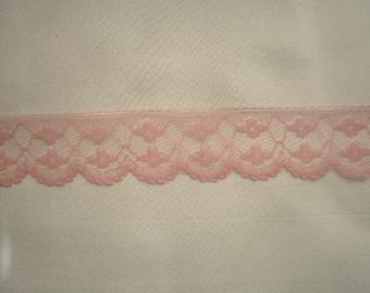 Lace 419  1 3/8 inch Wide  Vintage Pink Scallop Edge Lace Trim 5 yds Lace 419