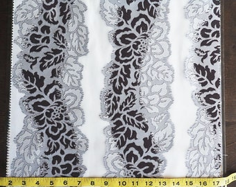 Custom Curtains in Sheer Ivory with Black / Grey Floral Stripe Pattern One Panel Custom sizes available