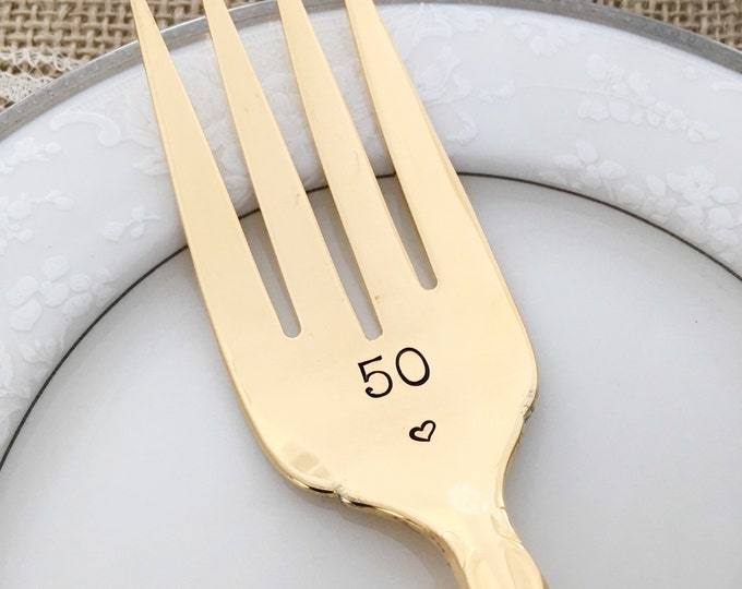 50: Gold Anniversary vintage serving fork, hand stamped, 50 golden