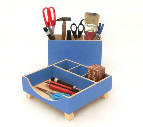 Blue desk organizer box set wooden desk set blue boxes - Desk organizer sets ...