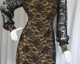 Vintage 1960s Black Lace Mini Dress, Size M/8