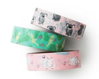 Washi tape 3 set -hippo - koala -value pack- DIY-packaging-decorative tape - weddings - Love My Tapes