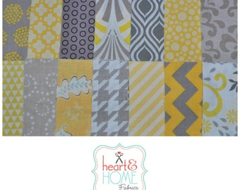 """Yellow and Gray 5"""" squares Charm Pack, 56 pieces, 100% cotton"""