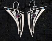 RESERVED Red rhodolite garnet and blue topaz sterling silver earrings