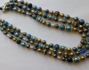 Blue and Gold Tone 3 strand Necklace