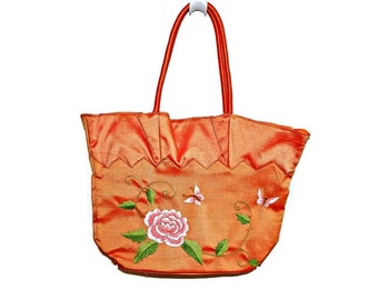 Pastel Hand Embroidered Flower Silk Purse Handbag Peach/ Cantaloupe Color