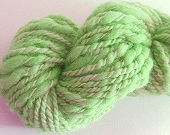 """Green Yarn Bulky Handspun Alpaca and Wool Thick and Thin Hand Dyed 84 Yards (2 skeins avail.)   """" Wintergreen  """" Doll Hair Knitting Crochet"""