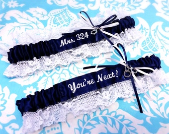 lacy Navy and white Police Wife garter set, You're next garter set, fine line garter, handcuffs wedding garter, Police garter, badge number