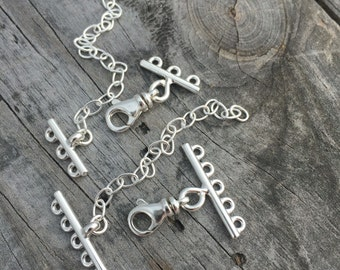 Sterling Silver Three Strand Clasp Sterling Silver Five Strand Clasp Jewelry Supplies Jewelry Findings