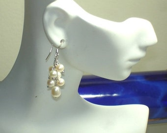 SHOP CLOSING SALE: Ashira Sterling Silver Dangly Freshwater Cultured Pearls and Swarovski Crystal Earrings